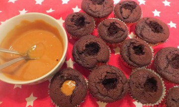 Dr Chocolate cupcakes with salted Caramel