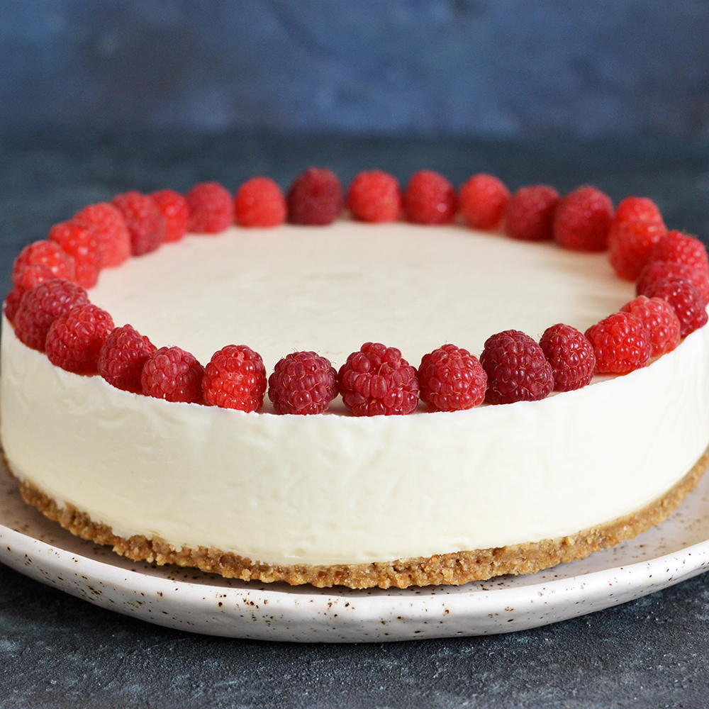 Raspberry Ripple No Bake Cheesecake