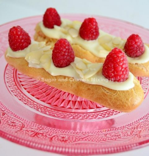 White Chocolate Raspberry Eclairs