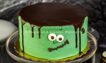 Fresh tasty cake prepared for Halloween party.