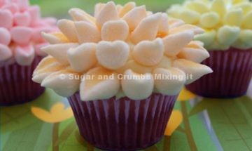 Chocolate orange cupcakes with marshmallows flowers