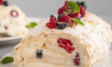 Meringue Roulade with Fresh Cream